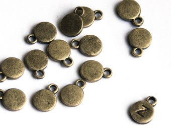 Antiqued Bronze Stamping Blank. EXTRA THICK, antique bronze brass finish.  8mm. Stamping tag. For hand-stamped initial charms Qty 20+ (CL-7)