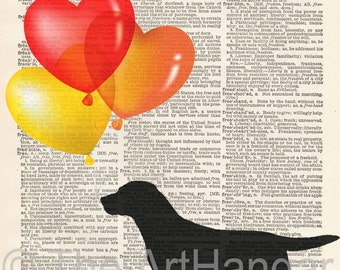 Labrador Dictionary Print, Giclée, Art, Print, Popular, Dictionary Dog, Silhouette, Dog Print, Gift for Her, Dog Decor, A4, Balloons,