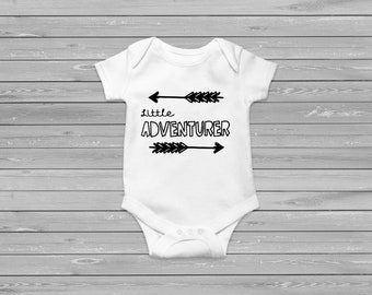 Little Adventurer baby vest monogrome gender neutral design for any baby adventurer. Can be put on a tshirt for an older child