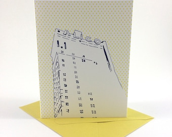 Waco, Texas Letterpress Card | ALICO Building | navy & yellow single blank card with envelope