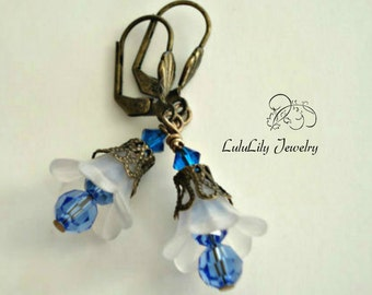 Flower Dangle Earrings, Blue Lucite Earrings, Bronze Earrings, Flower Jewelry, Boho Jewelry