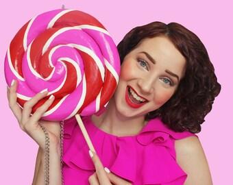Lolly Lolly portemonnee roze rode Swirl kandijsuiker voedsel Sieraden accessoires tas koppeling leuk ontwerp ontwerper Rommydebommy Fashion Kawaii schattig