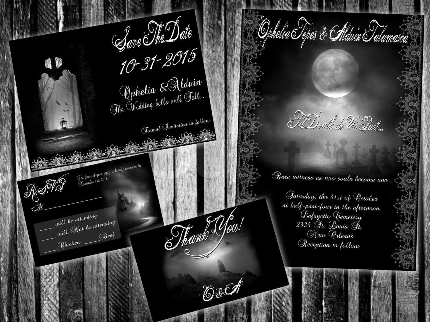 Halloween Wedding Invitation: Gothic Landscapes Halloween Wedding Invitation Set Save The