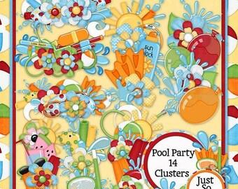 On Sale 50% Off Pool Party Digital Scrapbook Kit Clusters - Digital Scrapbooking