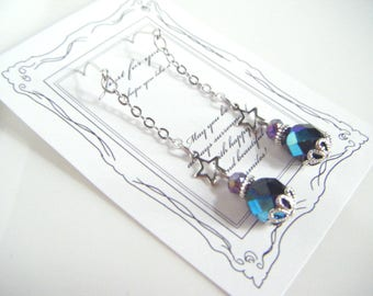 Black dangling earrings, black earrings with star charm, black silver earrings, gift for her, earrings under 10, stylish dangling earrings.