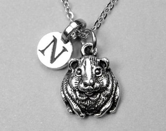 Hamster Necklace, Pet Hamster charm, antiqued silver plated, personalized jewelry, initial necklace, monogram letter, initial jewelry