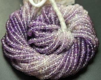 13 Inches Strand,Super Finest Quality,Natural SHADED AMETHYSTS Faceted Rondelles,Size 4mm