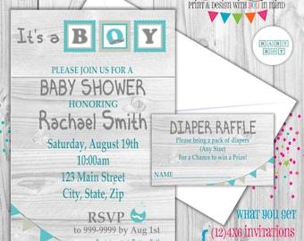 Rustic Baby Boy Baby Shower invitation digital or printed