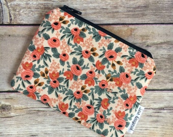 Coin Pouch, Change Pouch, Change Purse, Cotton and Steel, Rifle Paper Co, Les Fleurs Fabric, Mothers Day, Gift for Her