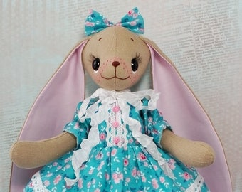 Bunny plush Stuffed bunny Rabbit toy Ragdoll Rabbit doll Fabric rabbit toy Bunny doll Rag doll handmade Rabbit lover gift hand made toy cute