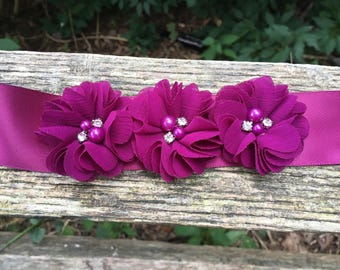 Floral sash, Flower Sash, Purple Flower Sash