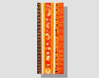 """Peinture abstraite contemporaine à l'acrylique sur toile. """"Verticales"""", tableau long décoratif graphique. orange, blanc, violet, jaune, doré"""