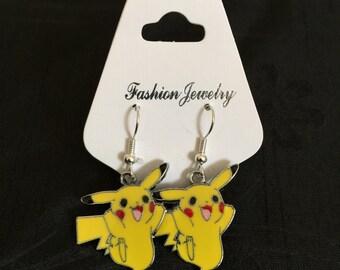 Silver Plated Nintendo Pokemon Pikachu Earrings (Des.1)