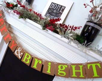 Christmas Banner - Merry & Bright Sign - Merry Christmas banner - Photo Prop - Holiday Decor - Christmas Decor - Neon Colors - Family Photos