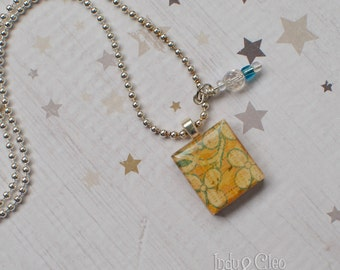 Abstract Flower Petal Scrabble Necklace, Handmade Scrabble Tile Pendant, Wood Pendant Charm, Wire Wrapped Bead Dangle, Bead Charm, Upcycled