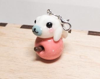 Chibby white seal zipper charm