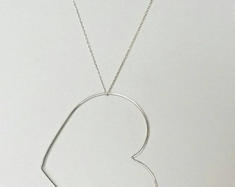 Heart pendant and silver chain. Necklace. Handmade. Silver.