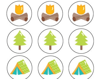 Camping Birthday Party Cupcake Toppers
