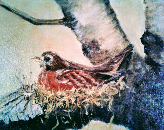 """Title: """"For Every Bird A Nest"""" - Original acrylic offered by artist - Free Shipping"""