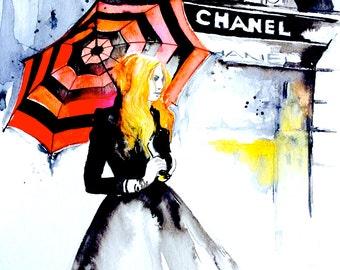 Chanel Fashion Inspired Art Print - House of Chanel Watercolor Painting - Parisian Girl Illustration- Home Decor - Lana Moes Art