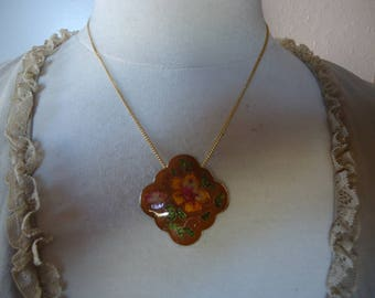 "Vintage Gold Tone Cloisonne Pendant on 18"" Gold Tone Chain, Earth Tone Colors"