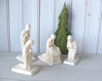 4 Shabby Antique Chalkware Nativity Figurines Mary with Baby Jesus Joseph Wiseman and Shepherd