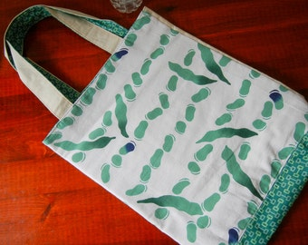 Japanese Tenugui Green Beans tote - fabric imported from Japan