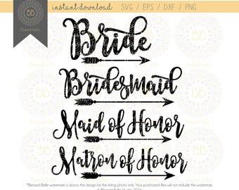 Bride and Bridesmaids SVG, wedding svg, bride SVG, bridesmaids SVG svg, svg, eps, dxf, png file, Silhouette, Cricut