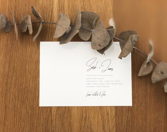 Printable Save The Date | Minimalist, Simple, Romantic, Classic | TUSCAN