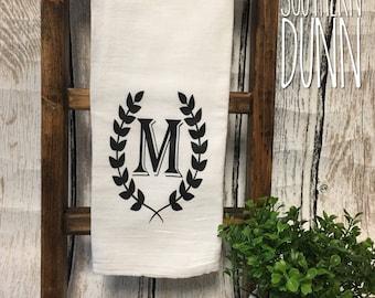 Monogram Kitchen Towel | Tea Towel | Flour Sack Towel | Monogram Laurel Wreath | Personalized Gift