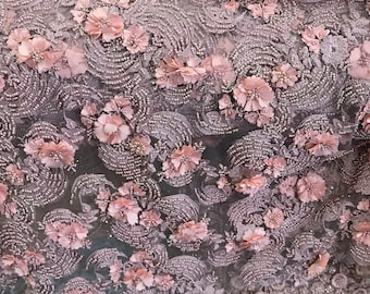 "Taupe, Dusty Rose Embroidered, Heavily Beaded Lace With 3D Flowers Fabric Available By The Yard 55"" Wide"