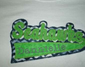 Seahawks Football School Spirt Swoosh Shirt Personalized.... One Custom Made Any Team & Colors  Embroidered and Applique