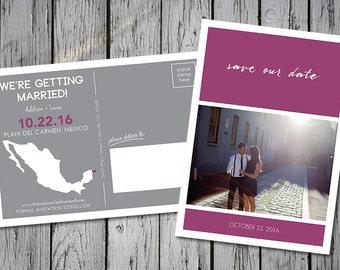 Destination Wedding Save-the-Date Photo Postcard, Purple & Gray, Customizable Colors, Printable Digital File, DIY