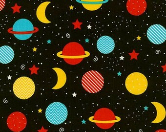 Space Explorers, Planets, Moons and starts on black by Ann Kelle, Robert Kaufman in Primary