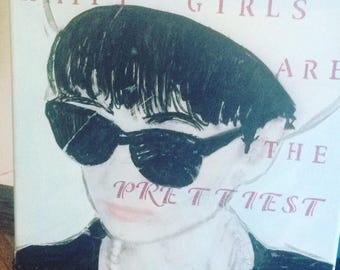 Happy Girls: Audrey Hepburn quote and collage, original artwork