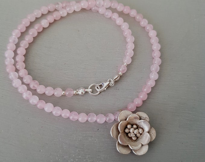 Tiny Rose Quartz choker necklace with Silver flower pendant January Birthstone jewelry - Heart Chakra - Healing gift