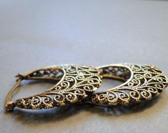 Vintage Earrings / Natural Brass Filigree Earrings / Accessories / Jewelry / Earrings / BoHo Chic Filigree Hoop Earrings / Natural Brass