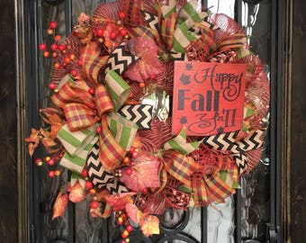 Happy Fall Y'all, Fall wreath, Autumn Wreath, Thanksgiving wreath, Poly mesh wreath