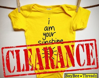 CLEARANCE! Baby Clothes. i am your SUNSHINE. baby romper. bodysuit. you are my sunshine lullaby. baby announcement idea. baby shower gift.