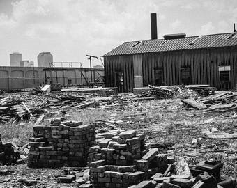 Industrial Photography, New Orleans Print, Urban Exploration, Factory Photo, Black and White Industrial Print, Abandoned New Orleans, Gritty