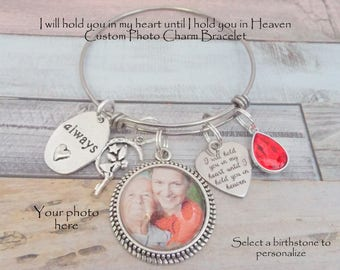 In Memory of a Loved One Charm Bracelet, Custom Photo Memorial Jewelry, Sympathy and Grief Gift, In Sympathy Gift, In Memory of Gift