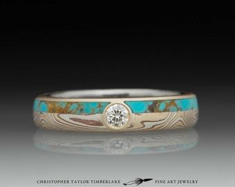Mokumé Gane Turquoise and Diamond Ring