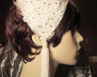 Starina Lace Feather Fascinator, Bridal Headpiece, Roaring 20s, Vintage, Downton Abbey