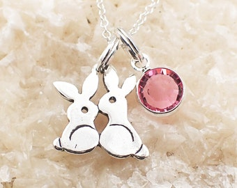 Kissing Bunny Rabbit Necklace Sterling Silver Swarovski Crystal Accent Charm Pendant Cable Chain Birth Month