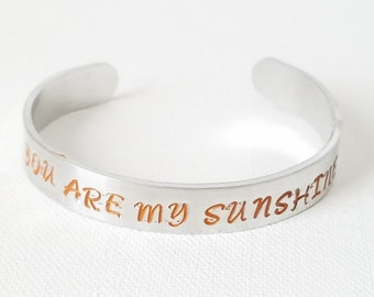 Custom Hand Stamped Jewelry Cuff Inspirational Quote You Are My Sunshine