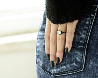 Women's Ring, Unique Ring, Women's Jewelry, Black Ring, Gemstone Ring, Statement Ring, Rectangular Ring, Stacking Ring, Black Stackable Ring