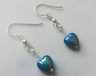 Blue heart earrings, silver plated