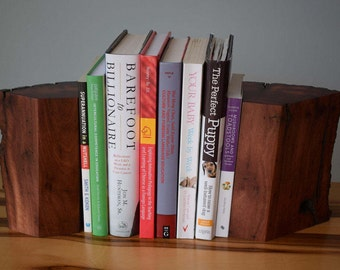Stringy Bark wood bookends handmade from reclaimed timber for books, CDs, DVDs etc