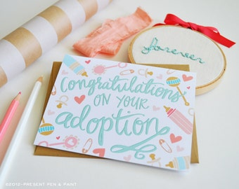 Congratulations on your adoption, Welcome Little One, Baby Shower, Baby gift, Illustration, Greeting Card, Handlettered