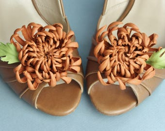 Leather flower shoe brooches, fall wedding shoe clips, bridal shoe brooches, leather anniversary gift, chrysanthemum clips
